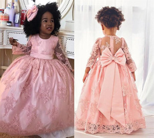Lace Appliques Ball Gown Flower Girl Dresses Kids Pageant Dresses Long Sleeves Vintage Dubai Lace Baby Birthday Prom Communion Dresses