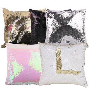 Sublimación Cubierta libre Pulgada Pillow 50pcs / lote Lentejuelas de envío Prensa Estuche decorativo Cojín Imprimible 16x16 Calor Flip erjks