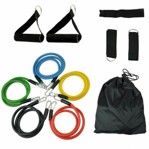 US stock Multifunctional Gym Resistance Bands Kit Fitness Bands Workout Home Elastic Band Chest Expander Set Pilates Yoga Rubber