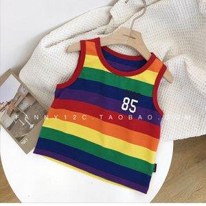 Infant Children's Clothing Male Baby Summer Rainbow Stripes Vest 2019 New Style Children Sleeveless Vest Tops