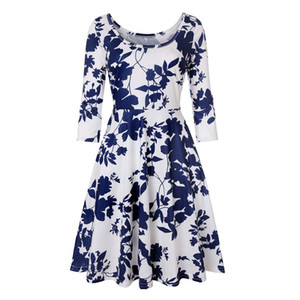 Plus Size 4XL Donne Summer Dress Hippie poliestere floreale Swing Party Dress Vintage Jurken Sexy Lady 3/4 Vestido Vestito estivo manica vendita calda