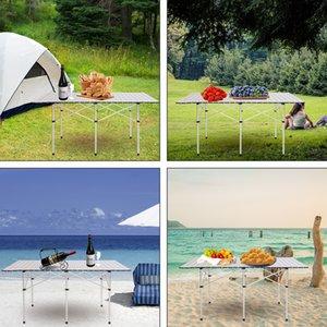 WACO Table de camping Portable, pliable en aluminium Roll-up léger robuste résistant à la rouille de fonte d'alliage Table rectangulaire Voyage extérieure étanche