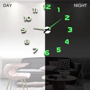 Horloge murale Horloges Design moderne Montre numérique Grand Big 3d Diy Home Décor lumineux Luminova Miroir autocollant Mode Nouveau Arrivée