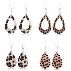 Pelle di leopardo orecchini di goccia del cuoio genuino per le donne Caramel Leopard Cheetah stampa ciondola goccia a goccia in pelle Orecchini
