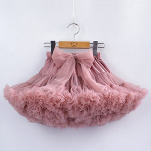 15 Colors Girls Tutu Petticoat With Bow Ruffles Puffy Pettiskirt Princess Soft Tulle Kids Party Dance Petticoat 1-10 Years baby