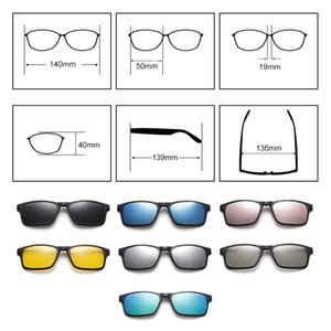TWO Oclock Flexible Magnet Sunglasses Men Polarized Clip On Women 7 In 1 Ultra-Light Square Glasses 3D Optic Frame A2247 Y200619