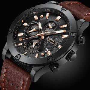 CRRJU Moda İzle Erkekler Yeni Tasarım Chronograph Büyük Yüz Kuvars saatı Erkek Doğa Sporları Deri Saat orologio uomo