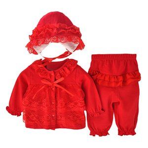Baby Girl Clothes Set Autumn Fashion Newborn Baby Clothing Set 0-12M Lace Cotton Coat+Pant+Hat Baby Girl Clothes