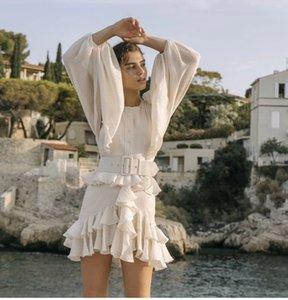 2020 Popular Logo New Summer Temperament Hot Style Retro Lantern Sleeve Waist Sealing Flruffled Skirt Age Reducing Dress Woman