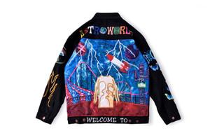 Negro chaqueta de Jean adolescentes Streetwear Coats Hip Hop Rapper Denim Jacket Diseñador de moda de alta calidad del bordado
