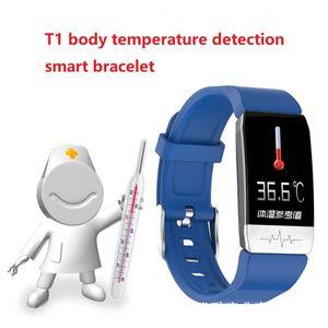 2020 En Yeni T1 EKG Yeni Geliş Alın Vücut Sıcaklığı Sensörü Termometre Spor Akıllı Bilezik T1 Tansiyon EKG Akıllı Bileklik İzle