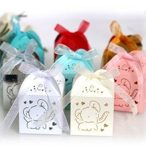 50pcs Laser Cut Elephant Hollow Carriage favorisce a contenitore di regali Candy Dragee Scatole Baby Shower cerimonia nuziale del sacchetto di compleanno Carta da regalo