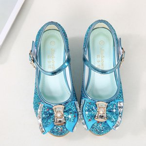 Children Leather Shoes Girls Flower Casual Glitter Children High Heels 2020 Princess Shoes Silver Baby Fashion Kids