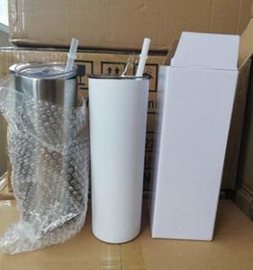 Beste Qualität!!! 20 Unzen dünner Tumblers leer Sublimation dünner Cup DIY 18/8 Edelstahl Doppelwand-Vakuum Mit Dichtung Deckeln und Solid Stroh