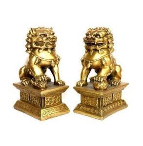 Paire de statues en laiton tibet chinois foo dogs