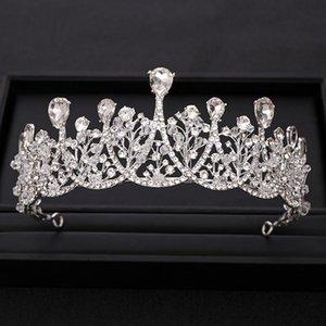 Silber Farbe Barock Kristall Hochzeit Crown Diadema Braut Tiara Genickstück Prom anzeigen Schmuck Hochzeit Haarschmuck