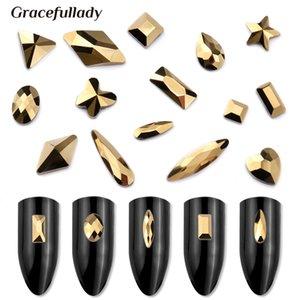 Aurum Cristais unhas Diamantes Pedras Strass ouro Projeto retro Rhinestones de vidro para 3D Nails Art Decoração Suprimentos Jóias