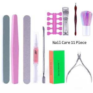 11pc Gel Polish ferramenta saco Manicures prego Clippers Polimento Esfregar Reparação Pele Dust Brush Scissors Nail Art Manicure Set-de-rosa