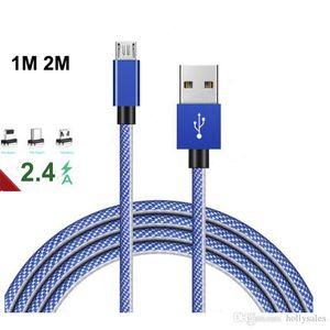 Örgü USB Kablosu 1 M 3ft 2 M 6ft 2.4A Hızlı Şarj Kablosu Samsung S9 S8 için USB Tipi C Kabloları OnePlus Huawei USB-C Şarj Cihazı için 10 Veri