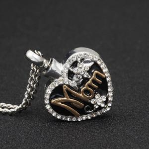Ciondoli in argento cremazione cuore collana di cenere urna ciondolo con fiore strass medaglione memorandum collana commemorativa donna uomo gioielli