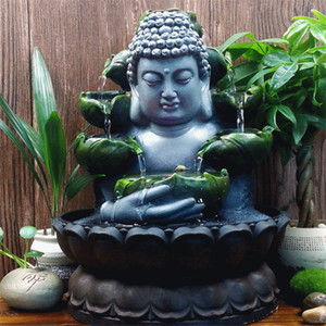 Creative Home Decorations Résine Flowing Eau Chute d'eau de la Fontaine Bouddha Statue Lucky Feng Shui Ornements Paysage Decor T200331