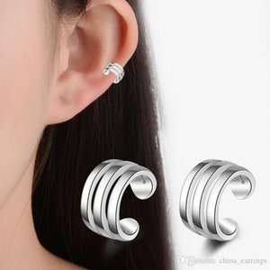 No Ear Hole Creative Fashion 925 Silver Color Girl Earrings Style Trend Double Line Simple Ear Clip With No Ear Hole