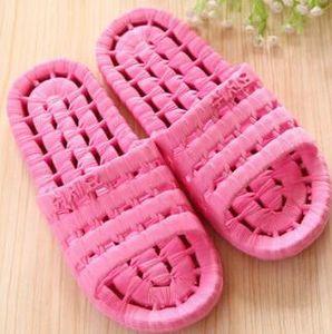 женщины девушка купания утечки полые тапочки для ванной, женские льняные кружева рыбья кость пластиковые пары сандалии массаж дома, ванная комната модная обувь