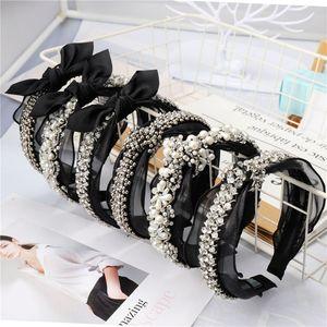 Bande de cheveux délicate pour les dames bandeaux de luxe noeud-noeud avec cerceau de cheveux Black Designer Crystal femmes noir avec perle