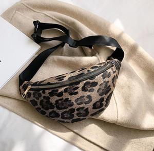 Borse vita Donna PU stampa leopardo grande capacità Fanny Pack corpo Brown White Ladies Viaggi Bag Croce