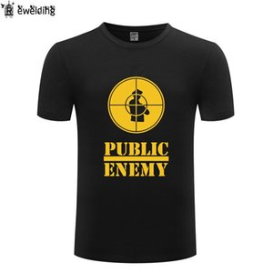 Музыка Public Enemy Printed Мужчины Футболка Hip Hop футболки мужчин хлопка с коротким рукавом Мужской Tshirt Streetwear Tee Shirt Homme Весёлый Новый