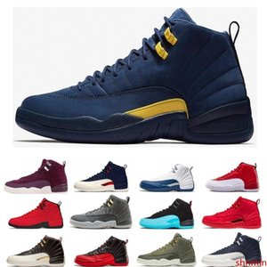 Mens 12s basketball shoe Winterized WNTR Gym Red Michigan Bordeaux 12 white black The Master Flu Game taxi sports sneaker trainers size 7-13
