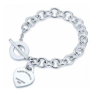 Kadınların 16-22CM zincir bilezik hediye için bilezik T toka etiketi bilezik geçiş Gerçek 925 Gümüş takı TIFF bilezikler Logo T aşkı