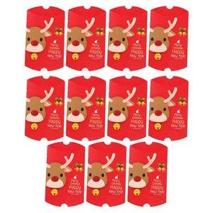 11pcs de Navidad elegante caja del caramelo de chocolate de la forma de almohada Galletas casos, la esfera de Navidad presenta los rectángulos para el festival fiesta en casa