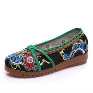 Top Quality Totem Bordados Shoes Exotic Vaca chinesa Muscle Mãe Shoes Deslizamento confortável On Walking Canvas Flats Plus Size 41