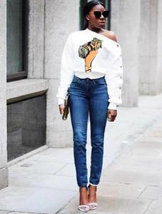 Sonbahar Tasarımcı Tshirts Eğimli Omuz Dolar Uzun Kollu Moda Stil Gündelik Dişiler Giyim yazdır kadın