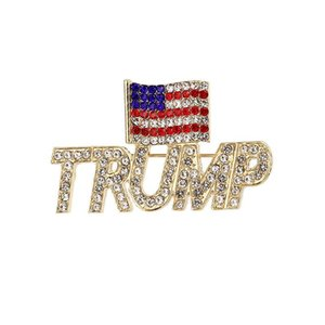 Trump Brosche 2 Styles 2020 Bling Diamant-amerikanische Flagge Brosche Patriotische Republikanische Kampagne Pin Gedenk Brosche Freies Verschiffen IIA15