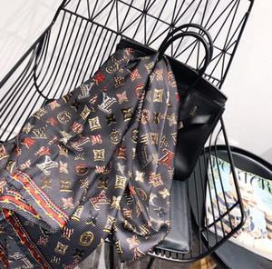 Европейского стиль шелкового шарфа высокого качества, весна, лето шарфов шарфов для женщин печати письма цветка шали 180 * 90см мягкой обертки