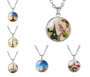 10шт мода Винтаж Париж Эйфелева башня драгоценные камни ожерелье стекло кабошон кулон цветы музыка птица мужские и женские украшения настроены