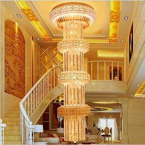 Moderne Nordic Pendelleuchte Modern European D600mm H2000mm S Gold-Big Luxuxkristallleuchter K9Crystal für Hotel-Lobby Doppelstehleuchte