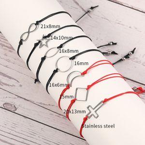 Siyah Kırmızı Wax Halat örgülü Charm Bilezik İçin Kadın Erkek Paslanmaz Çelik Yuvarlak Kalp Çapraz Ay Yıldız Oval Kolye Bileklik ile İstek Kart