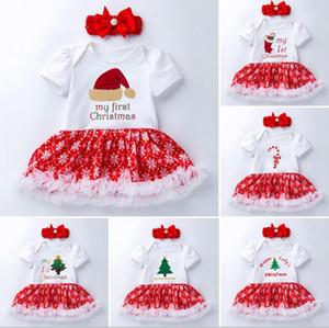 Baby Girs Weihnachten Kleidung Strampler setzt Kinder Kurzarm Weihnachten Hut Caluse Deer Tree Print Strampler Kleid + Pearl Stirnband 0-24 Monate
