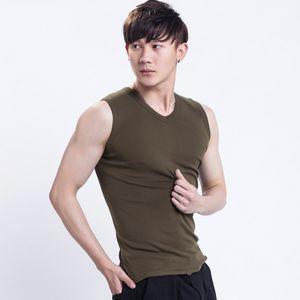 Pure cotton vest men's solid color slim sports hurdle fitness waistcoat cut sleeve wide shoulder sleeveless T-shirt
