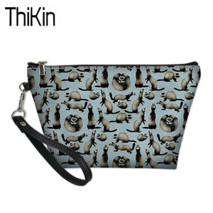 THIKIN Make Up Bags for Women Cheeky Ferrets Printing Cosmetic Cases Ladies Travel Toiletry Bag Organizer for Females Makeup Bag