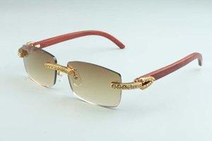 20 Óculos de sol de madeira de vidoeiro amarelo natural 3524012-C7 Óculos de sol, novo luxo grande diamante tamanho: 56-18-135mm llxil
