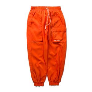 Favocent 2020 Bolsillos casuales negros Pantalones Streetwear Harem Pantalones Autumn Hop Hop Male Joggers Moda Hip Carga Lado naranja LCNUK