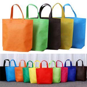 borse della spesa non tessuto con le maniglie, Eco pianura accettano logo stampato manico non tessuto shopping bag