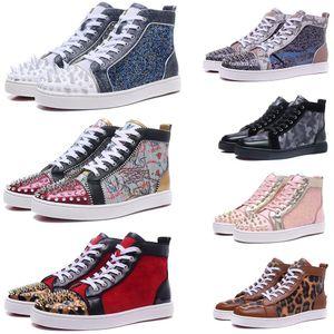 2020 A parte inferior vermelha Designer Shoes Homens Mulheres Studded Spikes calçados casuais Moda Insider Sneakers Black Red White Leather Luxury botas altas