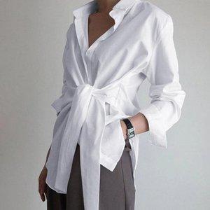 Blusa Blusa Mujeres Sólido Color Solapa Manga larga Floja Split Shirt Tops Plus Tamaño Blusas y Tops Chemisier Femme