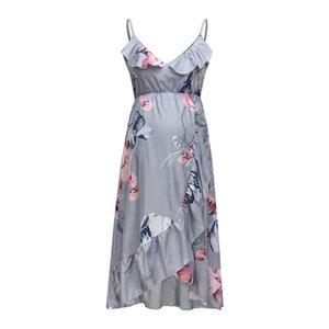 Women Maternity Dresses Estidos De Verano Summer Sleeveless Flower Print Ruffle Clothes Pregnanty Sundress Robe Femme Enceinte