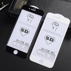 100pcs 5D Tempered Glass for iPhone Xs max xr 8 8plus 7 6s plus Full Cover Curved Edge High Quality Screen Protector with Retail Package